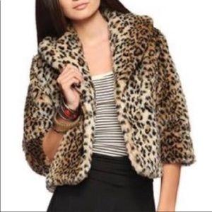 Faux Fur Leopard Jacket/Cape sz M